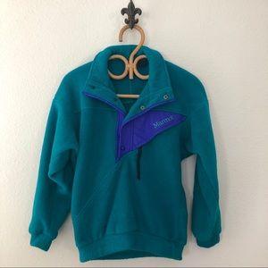 Vtg Womens Marmot Snap T Fleece Pullover
